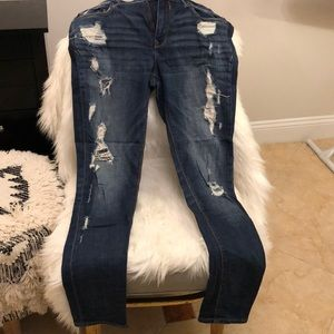 Express Mia mid rise destroyed skinny jeans!